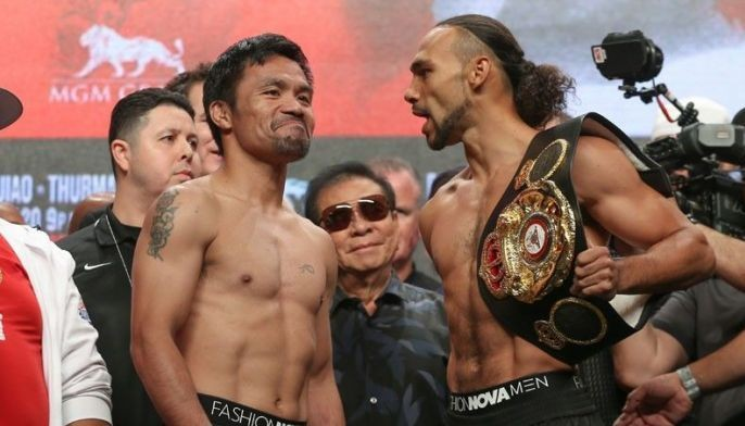 Manny Pacquiao and Keith Thurman during the official weigh-in ceremony at the MGM Grand in Las Vegas on Friday (Saturday, Manila time).