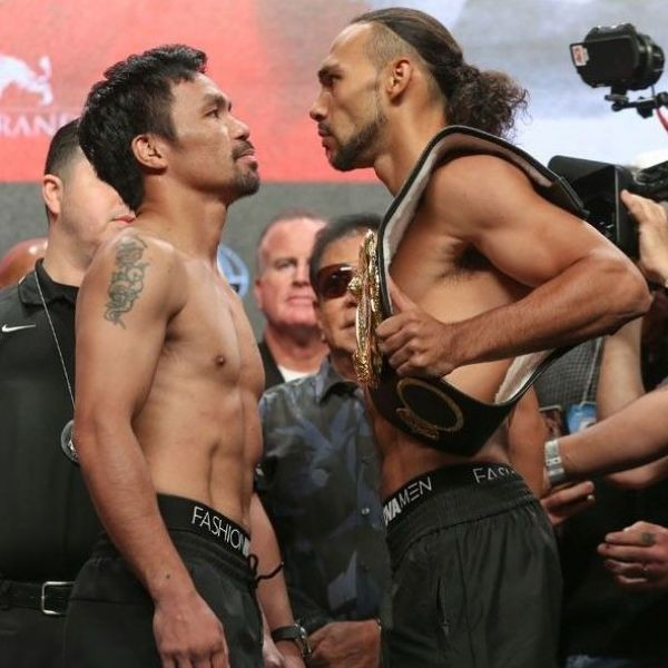 Manny Pacquiao and Keith Thurman in their final staredown.