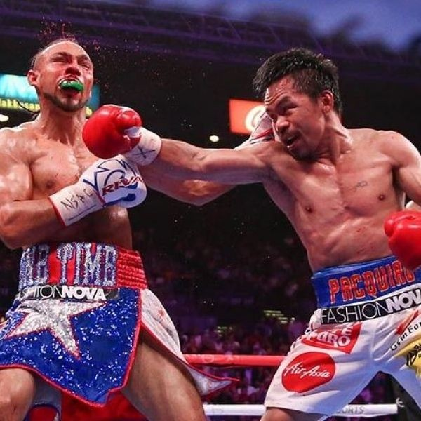 Manny Pacquiao caught Keith Thurman with a right hook in the fifth round that left Thurman bloodied