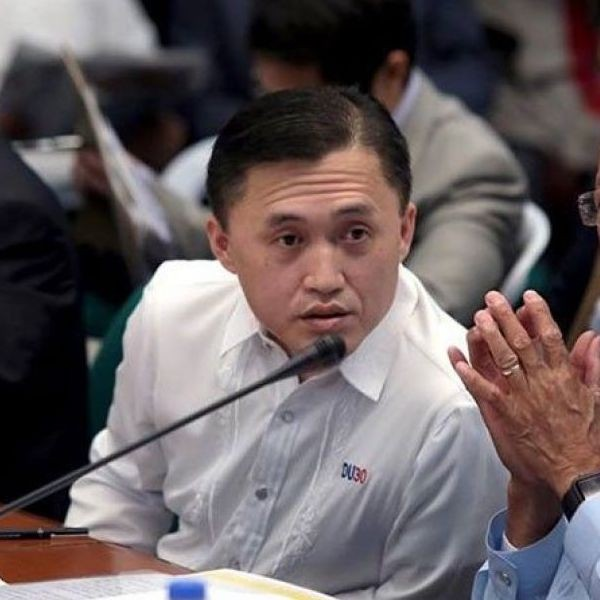 In this Feb. 19, 2018 photo, then Special Assistant to the Preisdent Bong Go listens to the senators� inquiries during the Senate probe on the issues involving the Philippine Navy�s frigate acquisition program.