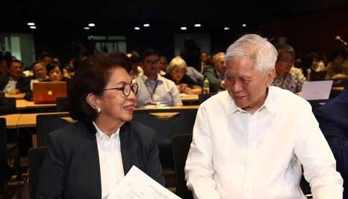 In this July 12, 2019 photo, former Ombudsman Conchita Carpio Morales and former Foreign Affairs Secretary Albert del Rosario attend a forum on the third anniversary of the Philippines' arbitral victory against China.