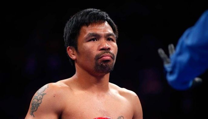 Manny Pacquiao gets ready for the start of his WBA welterweight title fight against Keith Thurman at MGM Grand Garden Arena on July 20, 2019 in Las Vegas, Nevada.