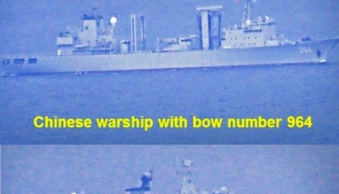 Photos provided by the Western Mindanao Command show three of the five Chinese warships spotted at Sibutu Strait in Tawi-Tawi in July and August. Philippine security officials say the ships entered into territorial waters without any coordination or advance notification and switched off their automatic identification systems.