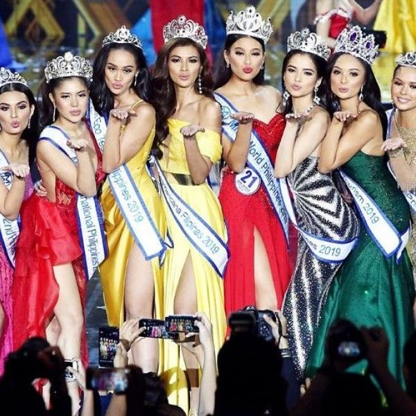Michelle Marquez Dee(4th from right) joins other winners, from left, 2nd princess Casie Banks, Miss Multinational Philippines Isabelle de Leon, Miss Eco Teen Philippines Vanessa Mae Walters, Reina Hispanoamericana Filipinas Katrina Llegado, Miss Eco Philippines Kelley Day, Miss Tourism Philippines Glyssa Leiann Perez and 1st princess Shannon Christie Kerver.