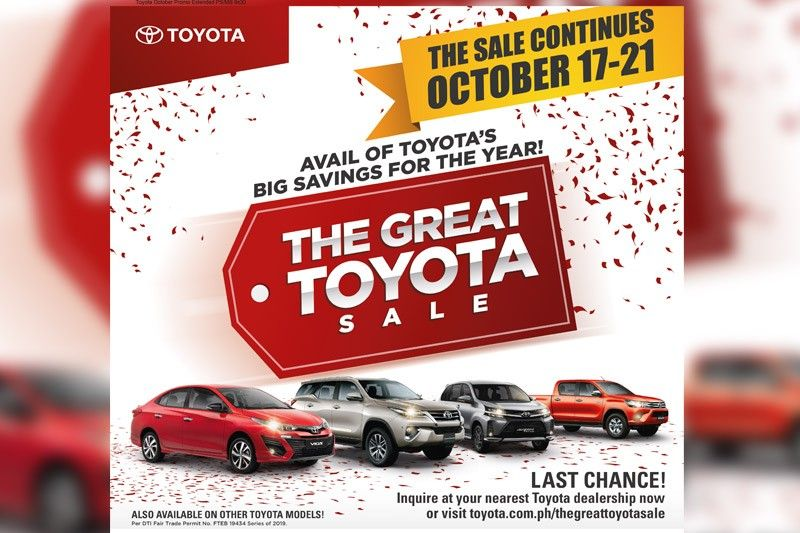 Toyota's biggest clearance sale for 2019 extended this weekend