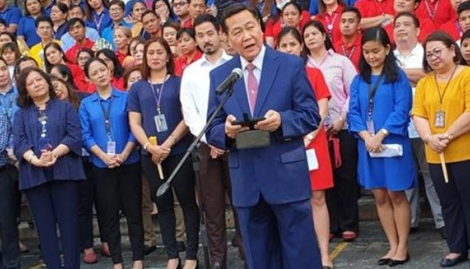 Acting Chief Justice Antonio Carpio delivered his farewell address during his last official attendance to the Supreme Court�s flag-raising ceremonies on Oct. 21, 2019, thanking colleagues and staff for their �utmost dedication and professionalism in their work and service to the Filipino people.�
