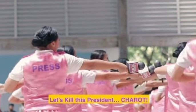 "A 29-second clip showed the students calling Duterte ""tuta"" or a ""puppy"" of China and later on chanted ""Let's kill this president charot!"" inspired by Korean girl group BLACKPINK's ""Kill This Love."""