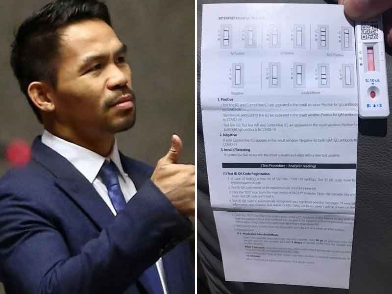 Pacquiao negative for COVID-19 after being tested twice