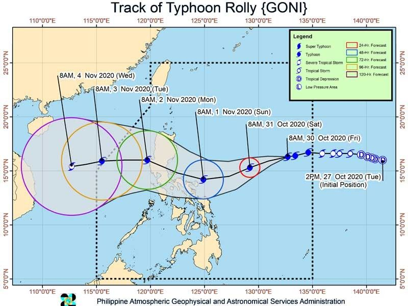 Signal No.4 possible: �Rolly� continues to strengthen as it threatens Aurora-Quezon area