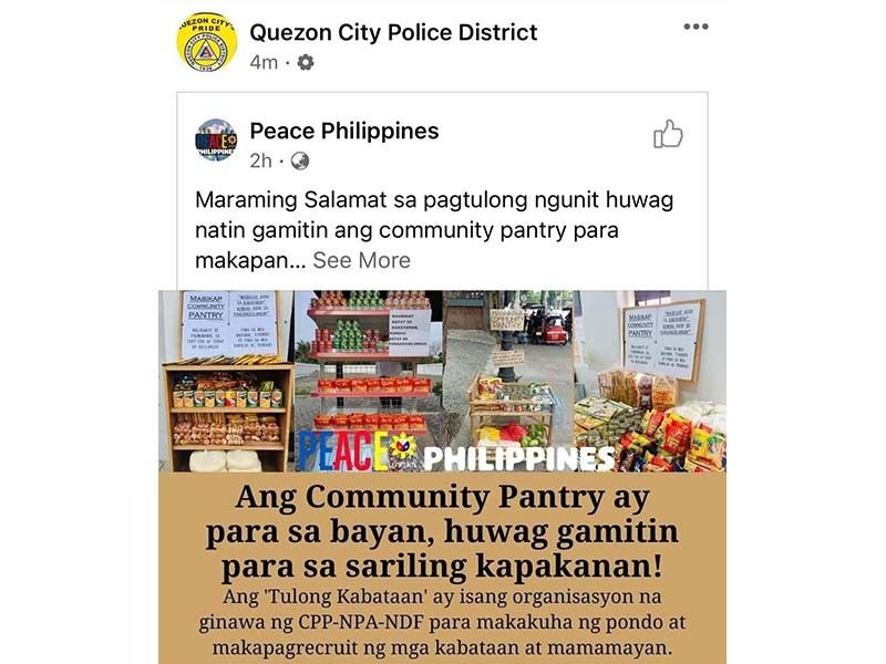 Despite proof, PNP says it did not try to link community pantries to rebels