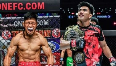 Lito Adiwang (L) says he will not be challenging teammate Joshua Pacio for the ONE Strawweight world championship anytime soon