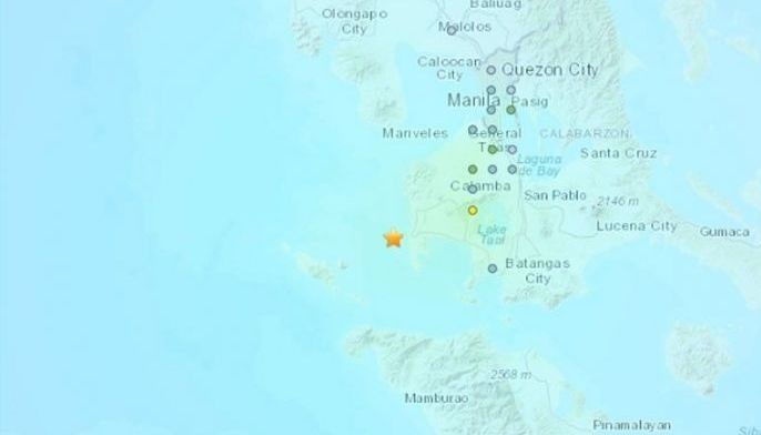 This map shows the location of where a 5.7 magnitude earthquake struck southern Luzon early Monday.